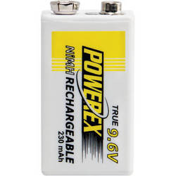Powerex MHR9V Rechargeable NiMH Battery (9.6V, 230mAh)