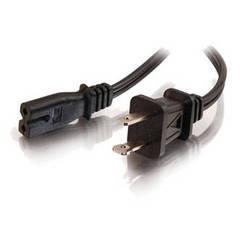 C2G 6ft 18 AWG 2-Slot Polarized Power Cord (NEMA 1-15P to IEC320C7) - Black