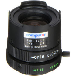 """computar CS Mount 1/3"""" 4mm Fixed Focus Manual Iris Lens"""