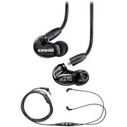 Shure SE215 Sound-Isolating In-Ear Earphones and In-Line Remote/Mic Cable Kit (Black)