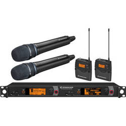Sennheiser 2000 Series Dual Handheld/Bodypack Wireless Microphone System with KK 205 Capsules (Aw: 516 to 558 MHz, Black)