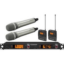 Sennheiser 2000 Series Dual Handheld and Dual Bodypack Transmitter Wireless Microphone System with Neumann KK 205 Capsules (Nickel)
