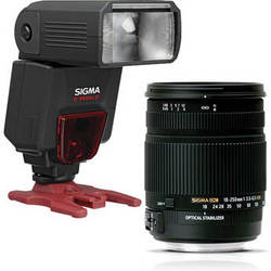 Sigma 18-250mm f/3.5-6.3 DC Macro OS HSM Lens and EF610 DG ST Flash Kit for Pentax