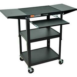 Luxor Adjustable Height Steel A/V Cart with Keyboard Shelf and Drop Leaf Shelves (Black)