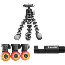Cinetics Camera Dolly Wheels with GorillaPod SLR-Zoom Tripod and Mini Ballhead