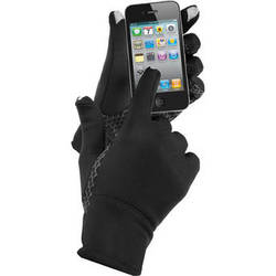 Isotoner Power Stretch Running Gloves (Large, Black)