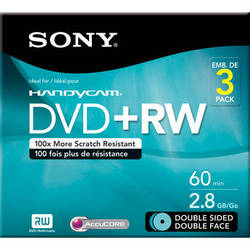 Sony 8cm Double-Sided Rewritable DVD with Hangtab (3-Pack)