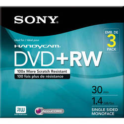 Sony 8 cm DVD+RW with Hangtab (Pack of 3)