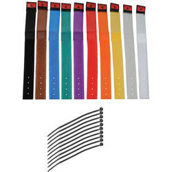 """Pearstone 1 x 9"""" Touch Fastener Cable Straps (Multi-Colored, 10-Pack)"""