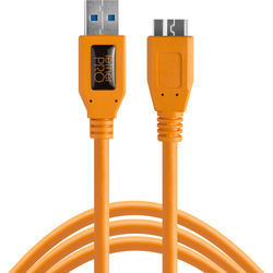 Tether Tools TetherPro USB 3.0 Male Type-A to USB 3.0 Micro-B Cable (15', Orange)