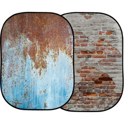 Lastolite Urban Collapsible Background (5 x 7', Rusty Metal/Plaster Wall)