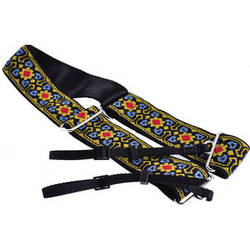 "Souldier Fillmore 2"" Camera Strap (Blue Arrowheads, Mustard/Red Diamond Center Set on Black with Mustard Border)"