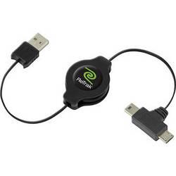 ReTrak Retractable USB Type A Male to Micro USB Type B Male / Mini USB Type B Male Cable