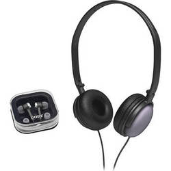 Coby 2-in-1 Combo DJ Style Stereo Headphones & Earphones (Black)