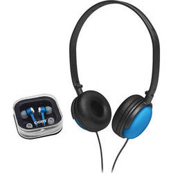 Coby 2-in-1 Combo DJ Style Stereo Headphones & Earphones (Blue)