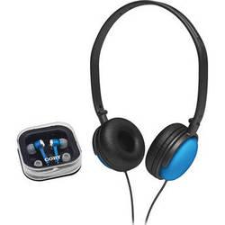 Coby 2-in-1 Combo DJ Style Stereo Headphones & Earphones (Blue)