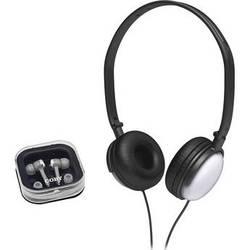 Coby 2-in-1 Combo DJ Style Stereo Headphones & Earphones (Silver)