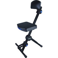 QuikLok Adjustable Musicians' Stool with Back and Footrest (Black)