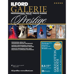 """Ilford GALERIE Prestige Gold Cotton Smooth Paper (8.5 x 11"""", 25 Sheets)"""