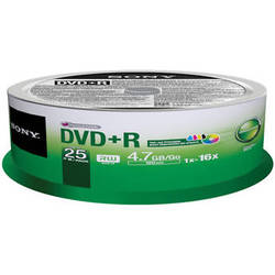 Sony 16x DVD+R Disc (25-Pack Spindle, White)