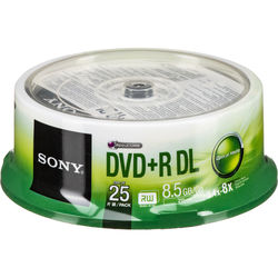 Sony DVD+R 8.5 GB Dual Layer Recordable Discs (Spindle Pack of 25)