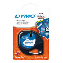 "Dymo Plastic LetraTag Tape (Black on White, 1/2"" x 13')"