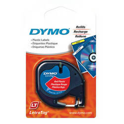 "Dymo Plastic LetraTag Tape (Black on Red, 1/2"" x 13')"