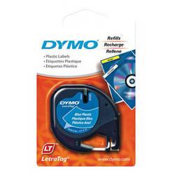 """Dymo Plastic LetraTag Tape (Black on Blue, 1/2"""" x 13')"""