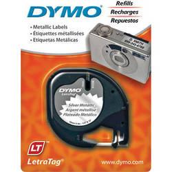 """Dymo Metallic LetraTag Tape (Black on Silver, 1/2"""" x 13')"""
