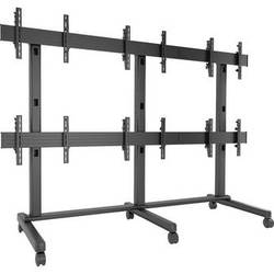 """Chief FUSION 3 x 2 Micro-Adjustable Large Freestanding Video Wall Cart for 42 to 46"""" Screens (Black)"""