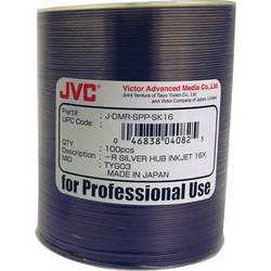 JVC DVD-R 4.7 GB Silver Inkjet Hub-Printable Recordable Discs (Pack of 100)