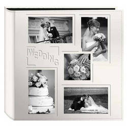"Pioneer Photo Albums 5COL240 Collage Frame Embossed Sewn Leatherette 4x6"" Wedding Photo Album (Ivory)"