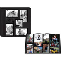 """Pioneer Photo Albums 5COL240 Collage Frame Embossed Sewn Leatherette 4x6"""" Family Photo Album (Black)"""