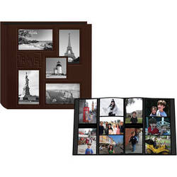 """Pioneer Photo Albums 5COL240 Collage Frame Embossed Sewn Leatherette 4x6"""" Travel Photo Album (Brown)"""