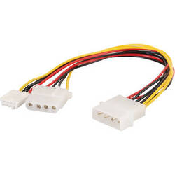 "C2G 4-pin Molex (LP4) Male to 4-pin Floppy Power Male and 4-pin Molex (LP4) Male Internal Power Cable (10"")"