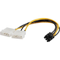 "C2G 6-Pin PCI Express to Two 4-Pin Molex Power Adapter Cable (10"")"