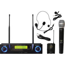 Pyle Pro PDWM3500 Professional UHF Dual-Channel Wireless Microphone System with Adjustable Frequency