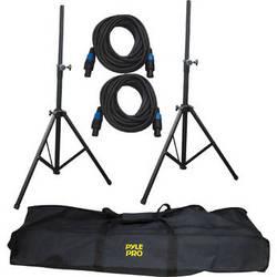 Pyle Pro Heavy-Duty Aluminum Anodizing Dual Speaker Stand & Speakon Cable Kit