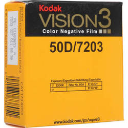 Kodak VISION3 50D Color Negative Film #7203 (Super 8, 50' Roll)