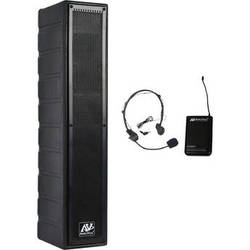 AmpliVox Sound Systems Line Array Amplified Rack Mount Speaker with Wireless 16-Channel UHF Headset Mic Kit