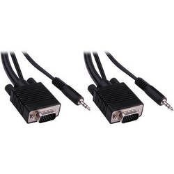 Pearstone 15' Standard VGA Male to Male Cable with 3.5mm Stereo Audio