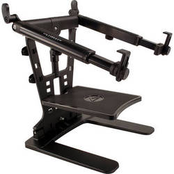"""Ultimate Support LPT-1000QR HyperStation QR 5/8"""" Thread-Mountable Laptop / DJ Stand with QuickRelease Center Post (Black)"""