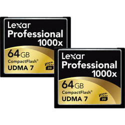 Lexar 64GB CompactFlash Memory Card Professional 1000x - 2-Pack