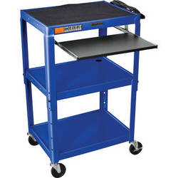 Luxor W42ABUEKB Adjustable Height Steel A/V Cart with Pullout Tray (Blue)
