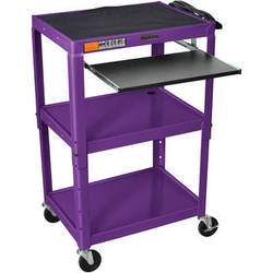 H. Wilson W42APEKB Adjustable Height Steel A/V Cart with Pullout Tray (Purple)