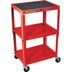Luxor W42A Adjustable Steel AV Cart with 3 Shelves (Red)