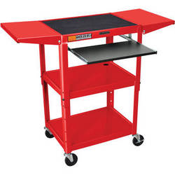 H. Wilson W42AREKBDL Adjustable Height Steel A/V Cart (Red)
