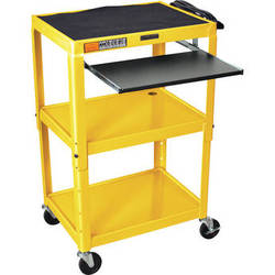 H. Wilson W42AYEKB Adjustable Height Steel A/V Cart with Pullout Tray (Yellow)