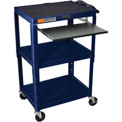 H. Wilson W42AZEKB Adjustable Height Steel A/V Cart with Pullout Tray (Topaz)