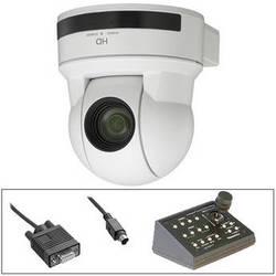 Sony EVI-100S HD PTZ Cam w/Telemetrics Remote & RS-232 Cable Kit (White)